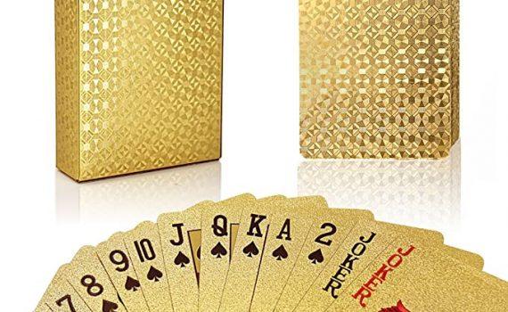 Jeu de Cartes en PVC Étanche Feuille d'or 2