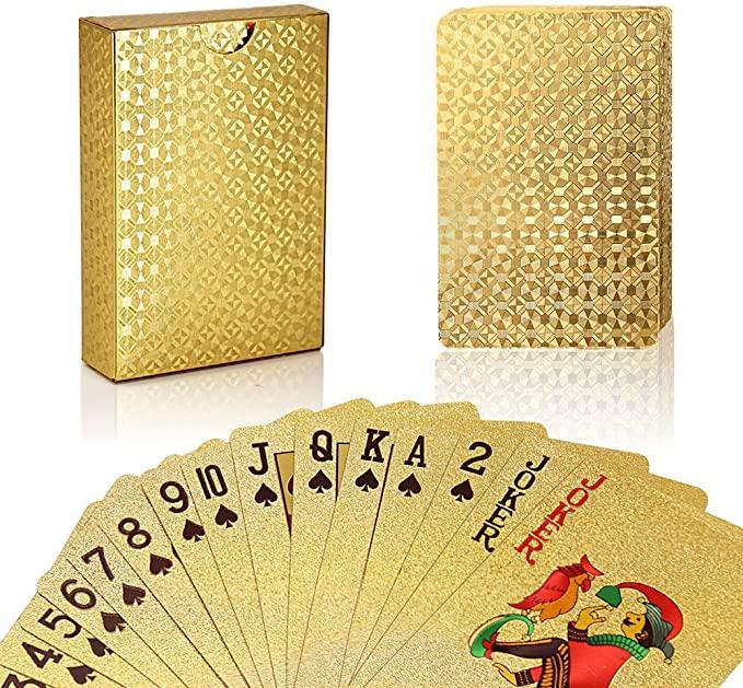 Jeu de Cartes en PVC Étanche Feuille d'or 1